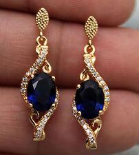 "18K Yellow Gold Filled- 1.1"" Hollow Navy Blue Topaz Flower Vine Bohemia Earrings"