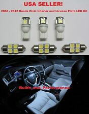 6 PIECE 2007 HONDA CIVIC WHITE LED INTERIOR AND LICENSE PLATE LIGHT KIT