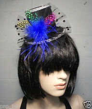 Burlesque Gothic Victorian Black Top Hat w/ Multicolored Feathers & Blue Puff US