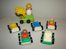 Fisher Price Little People Vintage Lot Cars Vehicles + Larger Construction Man