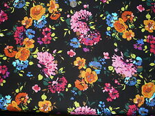 ITALIAN STRETCH VISCOSE JERSEY PRINT-BRIGHT FLORAL-DRESS FABRIC-FREE P&P