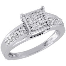 .925 Sterling Silver Diamond Promise Anniversary Engagement Square Ring 0.15 Ct.