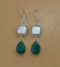 925 SILVER PLATED FACETED GREEN EMERALD,BIWA PEARL HOOK EARRING JEWELRY-V00991