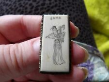 Unusual Chinese engraved cream coloured lady brooch with filigree mount WL52-13