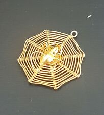 9 ct GOLD Spider On A Web Charm / Pendant.