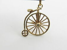 VINTAGE 14 K YELLOW GOLD MOVEABLE HIGH WHEEL BICYCLE CHARM