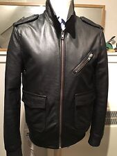 superdry Men's Leather Bomber/ Biker Jacket. Large.