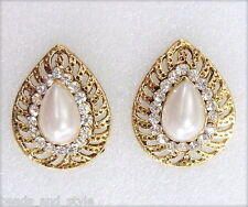 Designer shiny gold plated diamond pearls fashion jewelry stud earrings