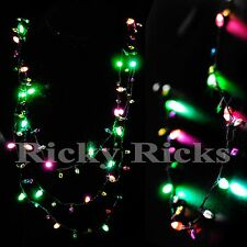 12 PCS Light Up Christmas Necklaces Holiday Bulbs Flashing Glow LED Necklace