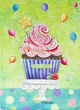 "Happy Cupcake Garden Flag Dessert Celebrate Birthday Balloons Icing 12.5"" x 18"""