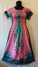 African Women's Dashiki Print Sun Dress Kaftan Hippie Maxi Gown Plus size Pink