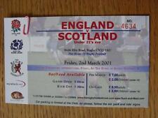 02/03/2001 Ticket: Rugby Union - England U21 v Scotland U21 [At Webb Ellis Road,