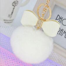 White Fur Ball PomPom Cell Phone Car Fox Keychain Pendant Handbag Pearl Key Ring