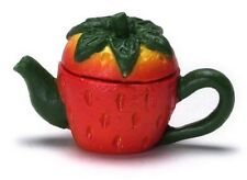 Strawberry Teapot, Dolls House Miniature Tableware Kitchen Dining Accessory
