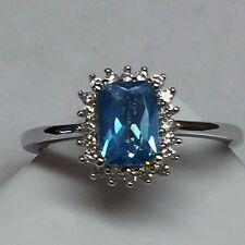 Gorgeous 1ct London Blue Topaz 925 Solid Sterling Silver Cushion Cut Ring sz 9