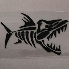 Black Crazy Cartoon Fish Bones Car Stickers JDM Car Bumper Window Vinyl Decals