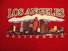 Los Angeles California Skyscraper City Mountains Souvenir Red T Shirt Size M