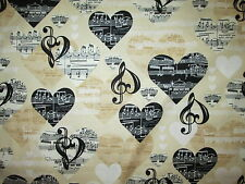 MUSIC NOTES HEARTS BLACK WHITE CREAM COTTON FABRIC BTHY