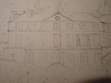 RARE DESSIN CRAYON PARC CHATEAU VILLECRESNES RICHERAND VAL de MARNE BRIE 1826