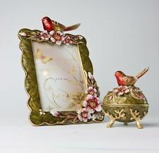 "Bird and Resin Crystal Flowers - JEWELRY BOX & PHOTO FRAME 4""x6"" GIFT SET"