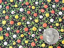 """Vintage Golden Yellow Red White Flower Black Cotton Quilt Doll Fabric 44"""" BTHY"""