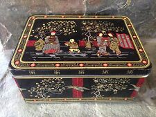 VINTAGE ASIAN CHINESE JAPANESE SCENE TIN BOX