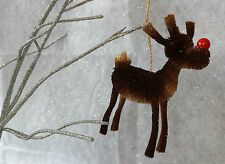 13cm Gisela Graham Bristle Red Nose Reindeer Christmas Decoration Hanging Tree