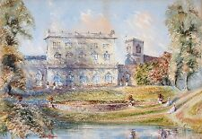 G Blair 19th century watercolour. Manor with figures in grounds.Gabrielle Blair?