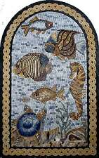 "36"" x 20"" Marble Mosaic Art Tile Stone Sea Creatures Various Fish In The Sea"