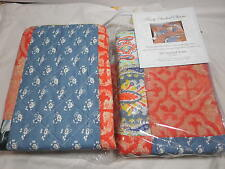 NEW Finely Stitched Standard Pillow Sham Set of Two ~ Coral Blue White Patchwork