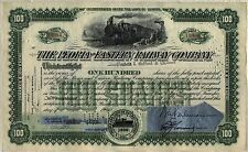 Peoria & Eastern Railway Company Stock Certificate Railroad Green