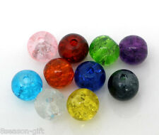 200 PCs Mixed Crackle Glass Round Beads Findings 6mm