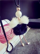 BEAUTIFUL  HANDMADE LARGE GIRL DOLL FUR NECKLACE CRYSTAL BALL STYLE 10
