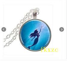 NEW Vintage Little mermaid Cabochon Tibetan silver Glass Chain Pendant Necklace