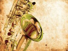 ART PRINT POSTER MUSIC DRAWING BRASS SAX SAXOPHONE INSTRUMENT LFMP0563