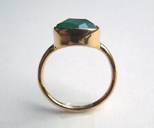 3.0CTW Dark Green Aventurine Stackable Ring, SZ 8, 18k Over Sterling Silver