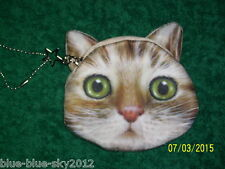 UK Sale: Green Eyed KITTEN Kitty CAT New COIN PURSE Star Chain Lined Bag