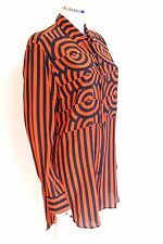 New Dries van Noten Orange Navy Pre Fall 2014 Long Shirt or Dress 38 uk 10