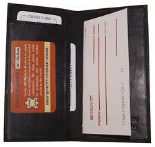 Checkbook Cover Slim Plain Men/Women Genuine Leather Cowhide Black AG Wallet
