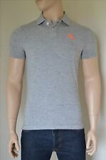 NEW Abercrombie & Fitch Classic Cotton Pique Moose Polo Shirt Light Grey Moose M