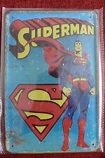 Superman Tin Metal Sign Painted Poster Comics Book Superhero Wall Decor