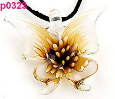 Handmade Stylish Chic Lifelike Yellow Butterfly art lampwork glass pendant JP323
