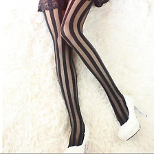 Womens Sexy Vertical Striped Hosiery Stockings Top Waist Pantyhose Tights 6-12