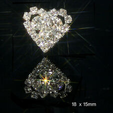 10 SMALL DIAMANTE RHINESTONE HEART EMBELLISHMENTS WITH 3 CENTER STONES CRYSTAL