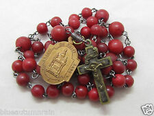 "† 1700s SCARCE ANTIQUE ""BURGES"" RELIC OF THE HOLY BLOOD OF JESUS RED ROSARY †"