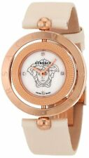Versace Women 79Q80SD497 S002 Eon Two Rings Rose-Gold Plated Satin Diamond Watch