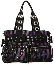 Banned Apparel Handcuff Black and Purple Jailhouse Stripe Gothic Handbag Purse