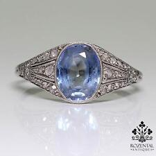 Antique Art Deco Platinum Diamond & 2ctw Sapphire Ring