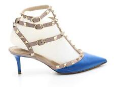 Valentino Blue Leather & Gold Rockstud Strappy Pumps Size 36.5