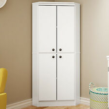 White Wardrobe Armoire Storage Closet Wood Clothes Cabinet Bedroom Furniture NEW